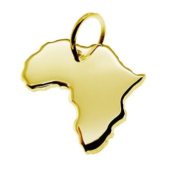 Trailer map Africa pendant in solid 585 yellow gold