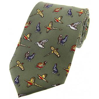 David Van Hagen Birds Country Silk Tie - Country Green