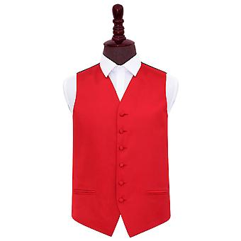 Red Plain Satin Wedding Waistcoat