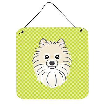Checkerboard Lime Green Pomeranian Wall or Door Hanging Prints