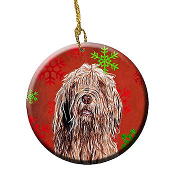 Otterhound Red Snowflakes Holiday Ceramic Ornament