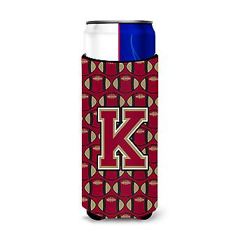 Letter K Football Garnet and Gold Ultra Beverage Insulators for slim cans