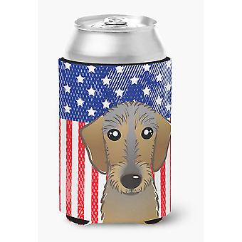 American Flag and Wirehaired Dachshund Can or Bottle Hugger