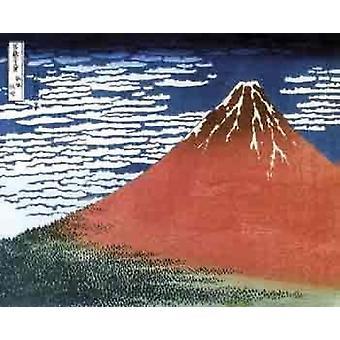 Hokusai - Red Mt Fuji Poster Poster Print