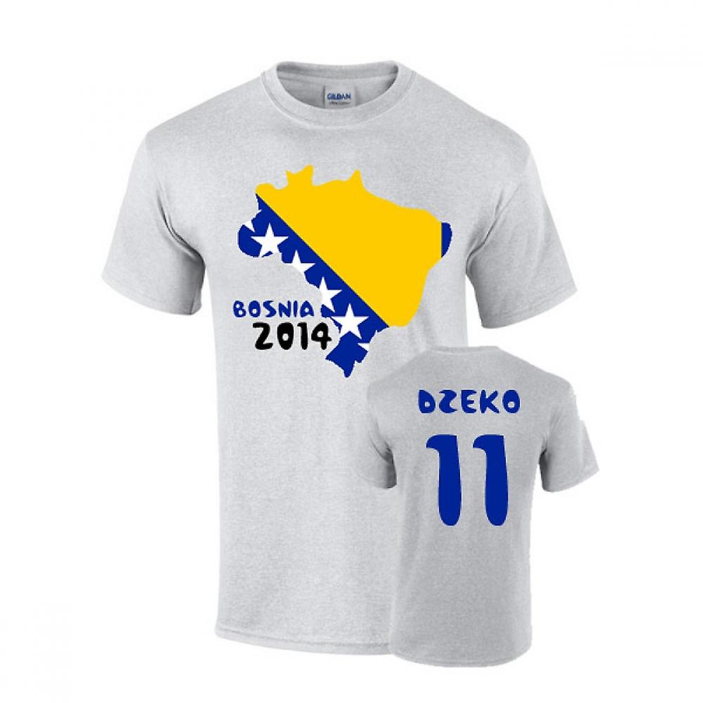 Bosnia 2014 land flagg T-shirt (dzeko 11)