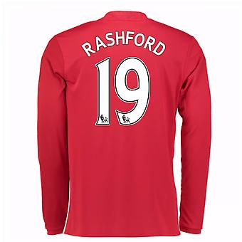 2016-17 Man United Home Long Sleeve Shirt (Rashford 19)