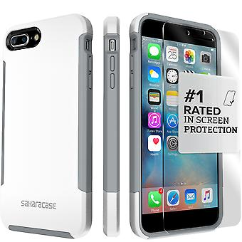 SaharaCase iPhone 8 Plus & 7 Plus Fossil White Case, Inspire Protective Kit Bundle with ZeroDamage Tempered Glass