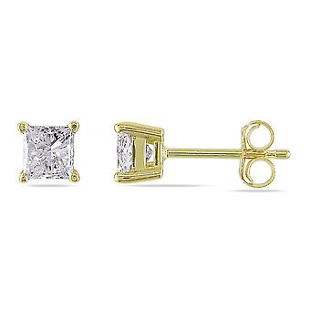 Princess Cut Diamond Solitaire Stud Earrings 3/4 Carat (ctw I1-I2 , H-I) in 14K Yellow Gold