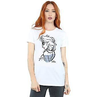 Disney Women's Frozen Elsa Sketch Mono Boyfriend Fit T-Shirt