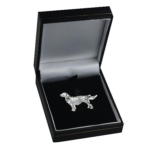 Silver 25x40mm Long haired Labrador Brooch