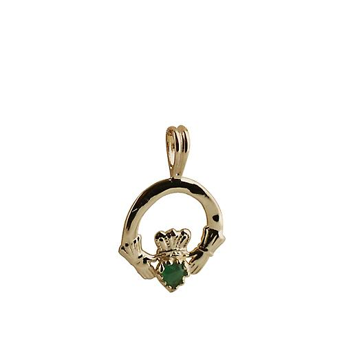 9ct Gold 20x15mm plain Claddagh Pendant set with Green Agate