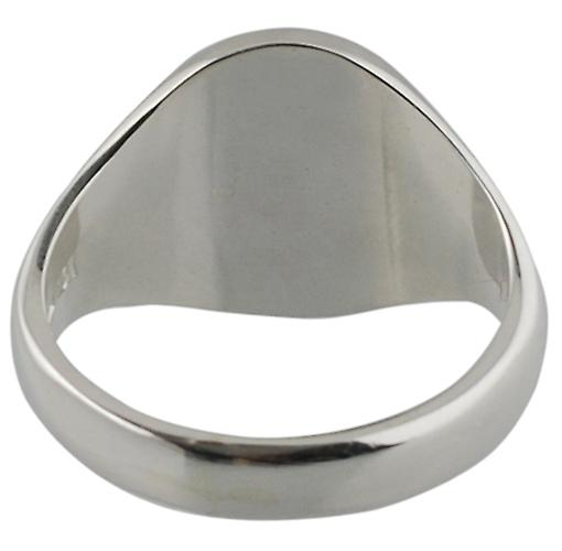 Silver 16x14mm plain oval solid Signet Ring Size W