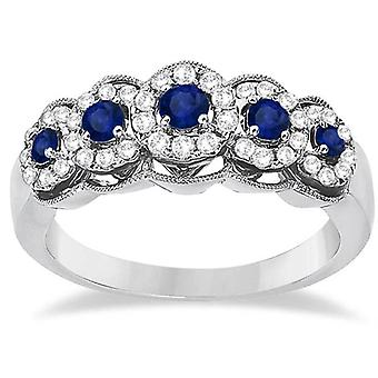 1ct Blue Sapphire & Diamond Vintage Anniversary Ring 14K White Gold