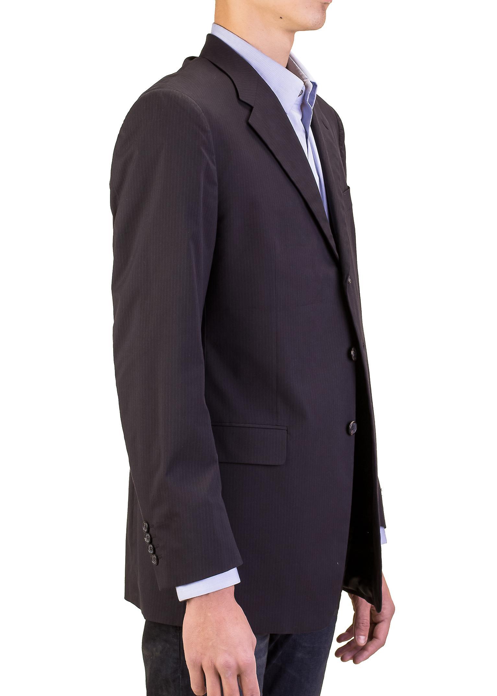 Prada Herren Baumwolle 3-Knopf-Anzug Jacke Sportscoat schwarz Nadelstreifen  blau 4dec5282ff