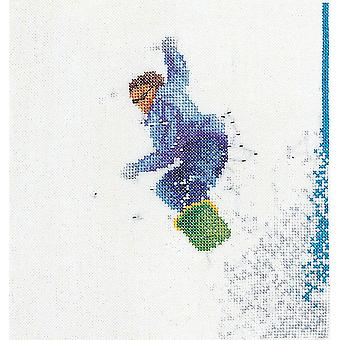 Snowboarder On Aida Counted Cross Stitch Kit-6.25