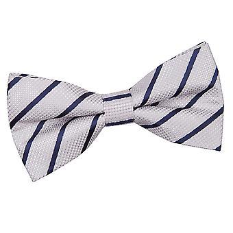 Silver & Navy Single Stripe Pre-Tied Bow Tie