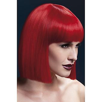 """Smiffy's Fever Lola Wig Red, Blunt Cut Bob With Fringe (12"""", 30cm)"""