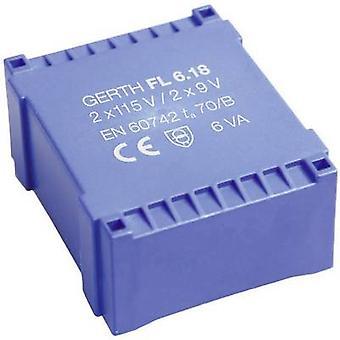 PCB de montaje transformador 2 x 115 V 2 x 18 V AC 6 VA 166 mA