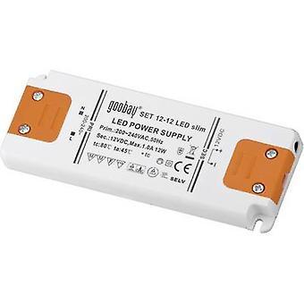 Goobay SET 12-12 LED slim LED transformer Constant voltage 12 W 1 A 12 Vdc Approved for use on furniture