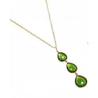 Necklace - silver - gold - plated Peridot quartz - green - dripping - 9 cm