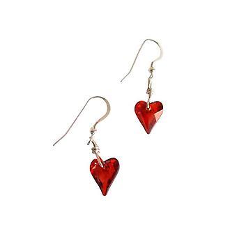 Heart Stud Earrings rode PHYLLIS 925 zilver met Crystal element zilver hart oorbellen