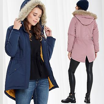 Jacqueline de Yong Ladies Parka Coat Winter Jacket Fur Hoodie Only Jacket Lined