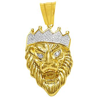 925 Sterling Silber Micro Pave Anhänger - KING LION gold