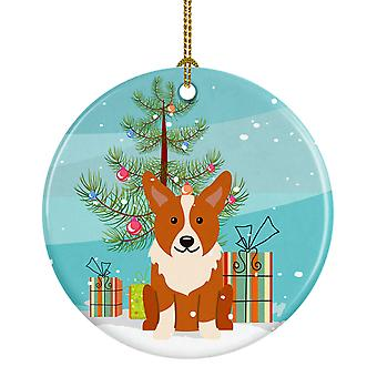 Carolines skatter BB4225CO1 Merry Christmas Tree Corgi keramiske Ornament