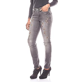 ARIZONA trendy destroyed jeans with studs trim short size black
