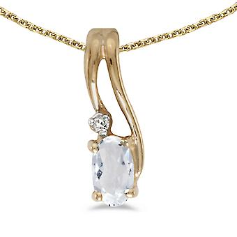 10k Yellow Gold Oval White Topaz And Diamond Wave Pendant with 18