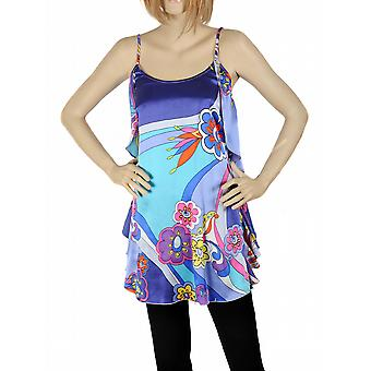 Waooh - mode - Petite jurk blauwe zijde bloem design