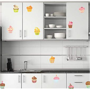 Full Colour Set of 12 Cup Cake Wall Stickers