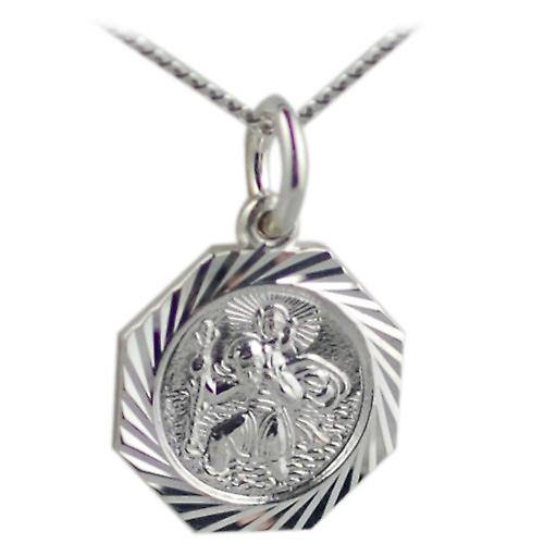 Silver 15x15mm octagonal diamond cut edge St Christopher Pendant with a curb Chain 24 inches