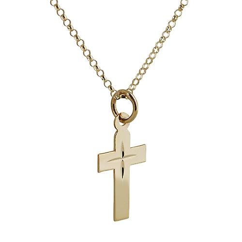 9ct Gold 15x11mm diamond cut star flat latin Cross with belcher Chain 16 inches Only Suitable for Children