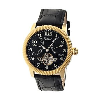 Heritor Automatic Piccard Semi-Skeleton Leather-Band Watch - Gold/Black
