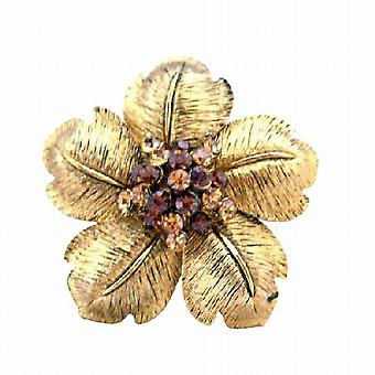 Adorable Gold Flower Petals Bridal Brooch w/ Smoked Topaz & Topaz Rhines Classy Gorgeous 2 By 2 Inches