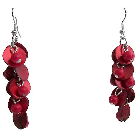 Red Shell Drop Earrings Fashion Red Shell Cluster Earring Holiday Gift