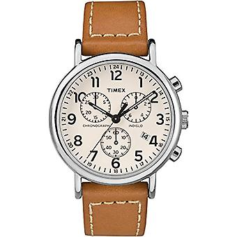 Quartz Chronograph Watch Timex Unisex Adult with a leather strap TW2R42700