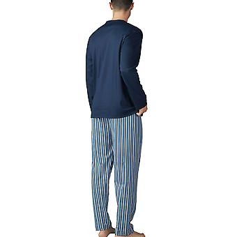 Mey Men 18780-668 Men's Breiter Streifen Yacht Blue Striped Pyjama Set