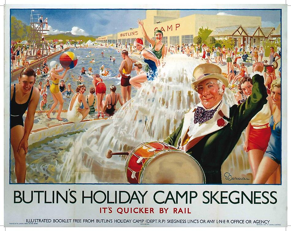 Butlins Skegness (old rail ad.) metal sign  (og 2015)