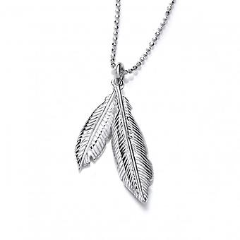 Cavendish French Silver Double Feather Spirit Pendant without Chain