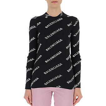 Balenciaga White/black Cotton Sweater