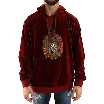 Bordeaux Velvet Hooded Sweater -- TSH1220848