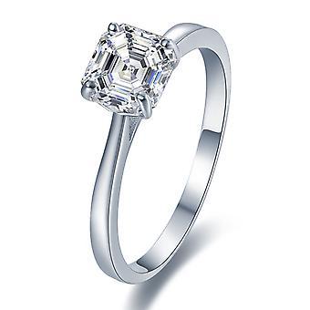 925 Sterling Silver Brilliant Asscher Cut Solitaire Engagement Ring