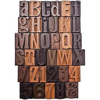 Idea-Ology Wooden Letterpress Letters 35/Pkg-Alphabet & Numbers 1