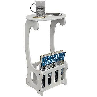 Scroll - Side / End / Bedside Table With Magazine / Book Storage Rack - White