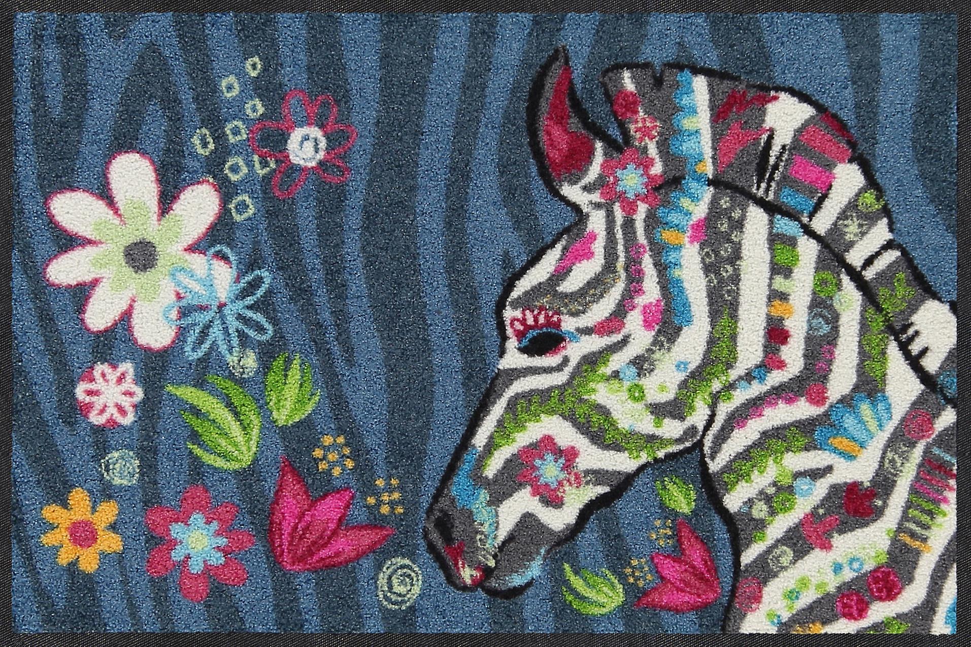 Salonloewe Fußmatte Hippie Zebra -bleu 50 x 75 cm waschbar Schmutzmatte