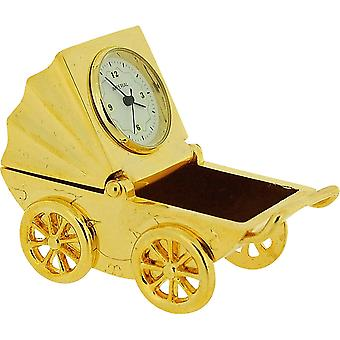 Miniatur Goldtone Baby Pram & Picture Frame Novelty Collectors Clock IMP1020