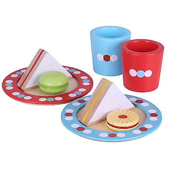 Bigjigs Toys Wooden Tea Time Pretend Role Play Set Food Picnic