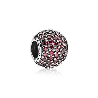 Pandora Pave Ball Silver & Red CZ Charm 791051CZR